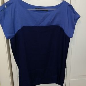Purple colorblock top with open shoulders